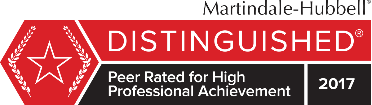 Martindale-Hubbell Distinguished Peer Rated for High Professional Achievement 2017